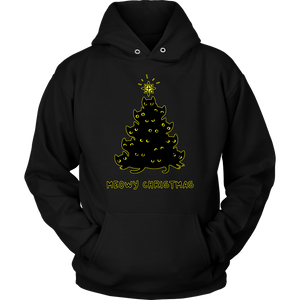 Meowy Christmas Black Cat Tree Hoodie
