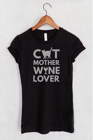 Cat Mother Wine Lover Women's Fit T-shirt