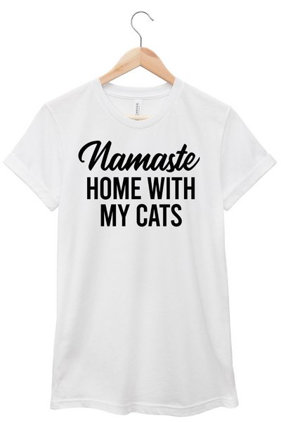 Namaste Home With My Cats T-shirt