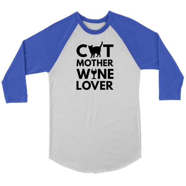 Cat Mother Wine Lover Raglan Tee