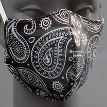 Load image into Gallery viewer, 3-ply reusable mask - Adult size - Black Bandana