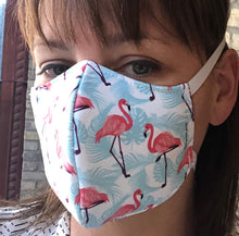 Load image into Gallery viewer, 3-ply reusable mask - Adult Size - Flamingo