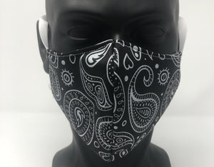 3-ply reusable mask - Adult size - Black Bandana