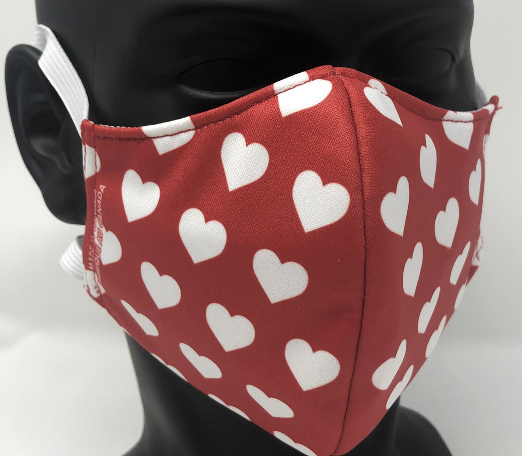 3-ply reusable mask - Adult Regular Size - HEARTS