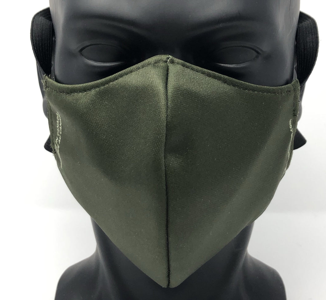3-ply reusable mask - Adult Regular Size - SOLID OLIVE GREEN