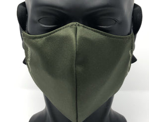 3-ply reusable mask - Adult Large Size - SOLID OLIVE GREEN