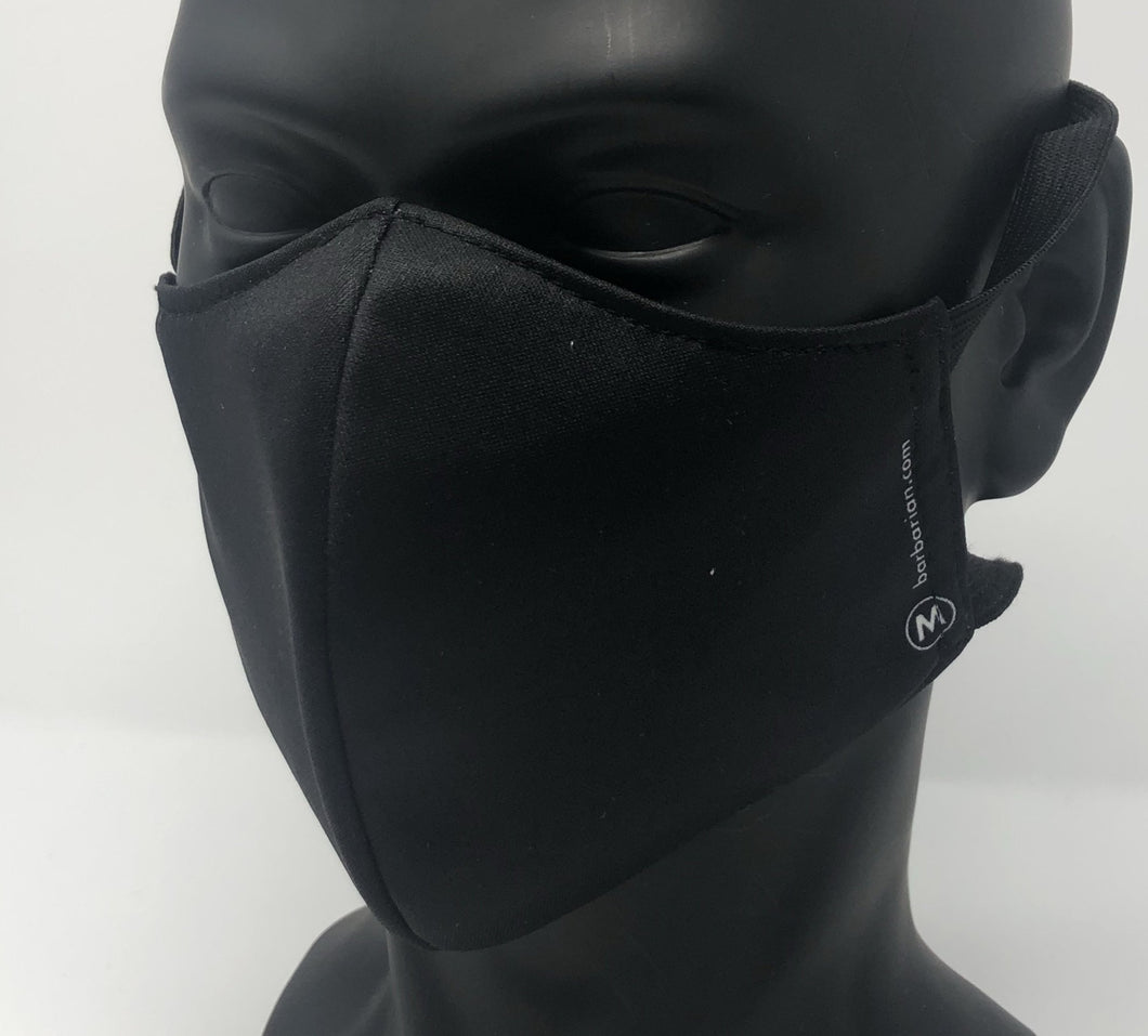3-ply reusable mask - Adult Regular Size - SOLID BLACK