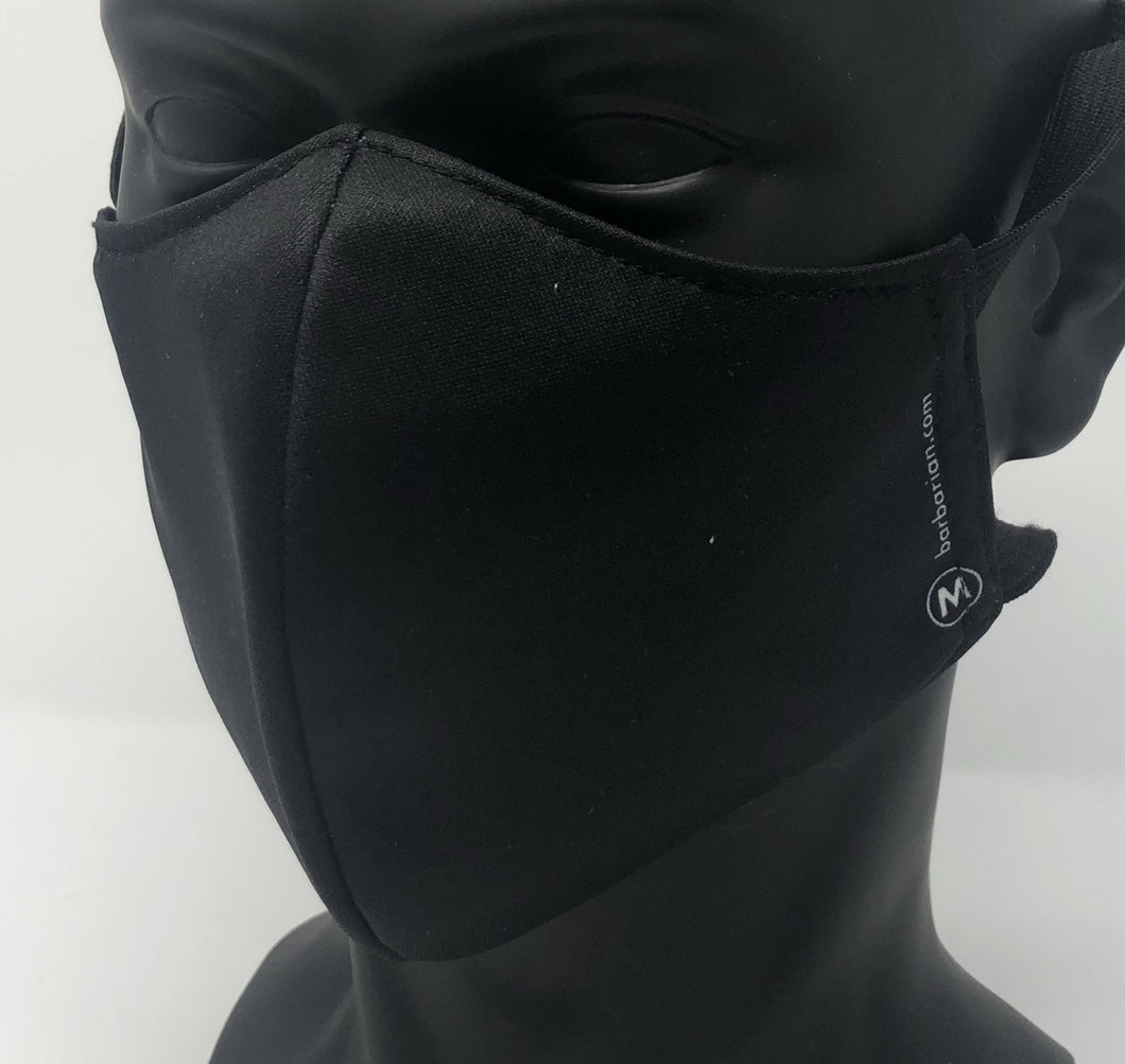3-ply reusable mask - Adult Large Size - SOLID BLACK