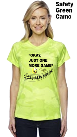 Okay, Just One More Game Ladies Champion Camo Colors Athletic Workout Tee