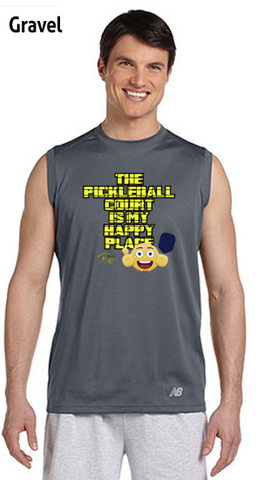 The Pickleball Court Is My Happy Place Men's New Balance Ndurance Sleeveless Tee