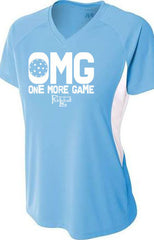 OMG, One More Game A4 Womens Color Blocked Performance V-Neck T-Shirt