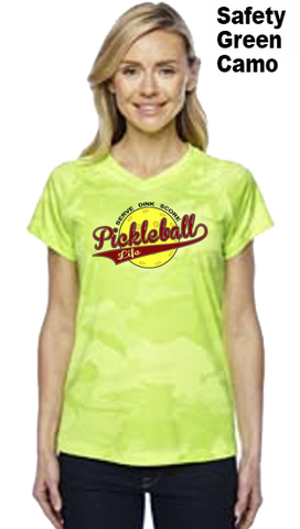 Pickleball Life Baseball Style Ladies Champion Color Print Camo Colors Athletic Workout Tee