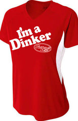 I'm a Dinker Womens Color Blocked Performance V-Neck T-Shirt