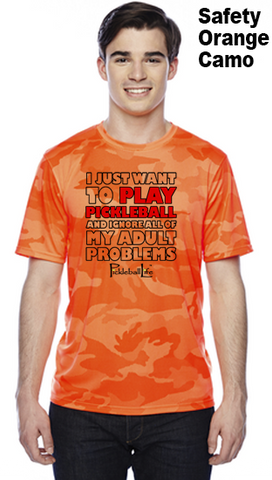 I Just Want To Play Pickleball Unisex Champion Camo Colors Athletic Workout Tee