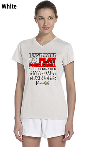 I Just Want To Play Pickleball Ladies' New Balance Ndurance Athletic V‑Neck Tee