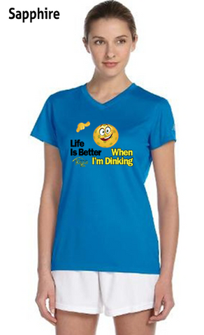 Life is Better When I'm Dinking Ladies' New Balance Ndurance Athletic V‑Neck Tee