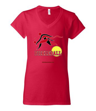 COLLEGE RED & WHITE WOMEN'S V-NECK TEE
