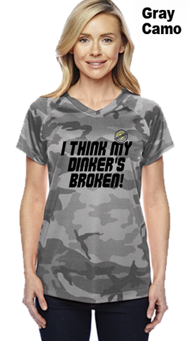 I Think My Dinkers Broken Ladies Champion Camo Colors Athletic Workout Tee