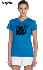 I Think My Dinkers Broken Ladies' New Balance Ndurance Athletic V‑Neck Tee