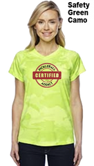 Distressed Print - Certified Pickleball Addict Ladies Champion Camo Colors Athletic Workout Tee