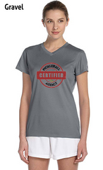 Distressed Print - Certified Pickleball Addict Ladies' New Balance Ndurance Athletic V‑Neck Tee