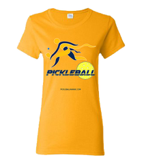 COLLEGE NAVY & GOLD PICKLEBALL WOMEN'S TEE