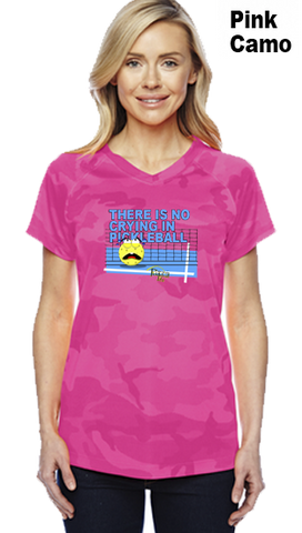 There Is No Crying In Pickleball Ladies Champion Camo Colors Athletic Workout Tee