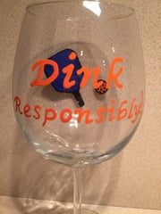DINK RESPONSIBLY WINE GLASS WITH PADDLE