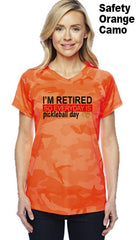 I'm Retired So Everyday is Pickleball Day Ladies Champion Camo Colors Athletic Workout Tee