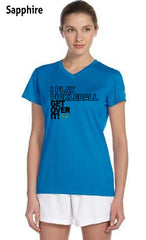 I Play Pickleball Get Over It Ladies' New Balance Ndurance Athletic V‑Neck Tee