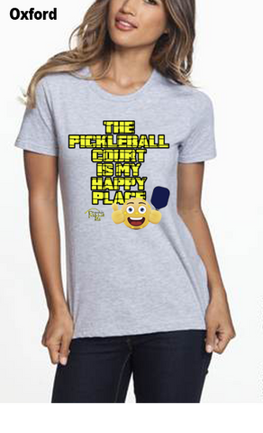 The Pickleball Court Is My Happy Place WOMEN'S 50/50 POLY/COTTON TEE