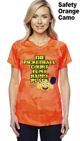 The Pickleball Court Is My Happy Place Ladies Champion Camo Colors Athletic Workout Tee