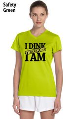 I Dink Therefore I Am Ladies' New Balance Ndurance Athletic V‑Neck Tee