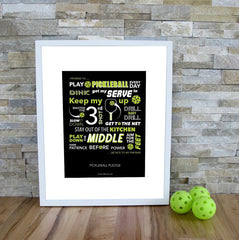 Pickleball Art Print - The Pickleball Pledge - Blue Pickleball Print - PickleballXtra