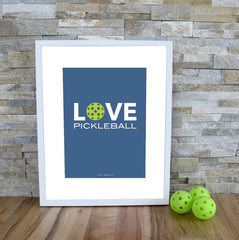 Love Pickleball Art Print - The Love Pickleball Poster - Blue Pickleball Modern Print - PickleballXtra