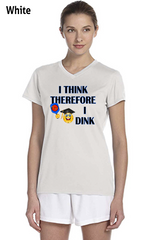 I Think Therefore I Dink Ladies' New Balance Ndurance Athletic V‑Neck Tee