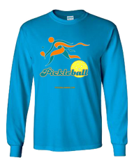 COLLEGE AQUA & ORANGE PICKLEBALL LONG SLEEVE SHIRT
