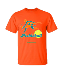 COLLEGE AQUA & ORANGE PICKLEBALL TEE