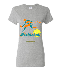 COLLEGE AQUA & ORANGE PICKLEBALL WOMEN'S TEE