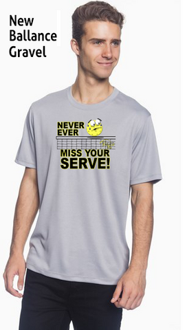 Never Ever Miss Your Serve Men's New Balance Ndurance Athletic Workout Tee