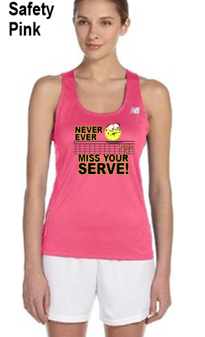 Never Ever Miss Your Serve Ladies' New Balance Performance Quick Dry Singlet Tank