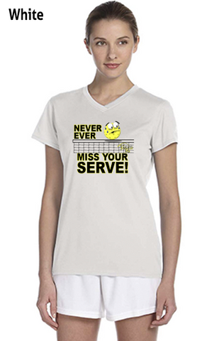 Never Ever Miss Your Serve Ladies' New Balance Ndurance Athletic V‑Neck Tee