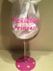 PICKLEBALL PRINCESS WINE GLASS