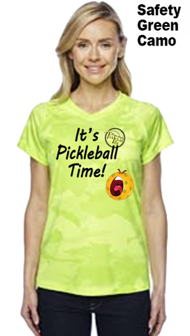 It's Pickleball Time Ladies Champion Camo Colors Athletic Workout Tee