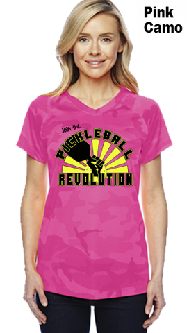 Join The Pickleball Revolution Ladies Champion Camo Colors Athletic Workout Tee