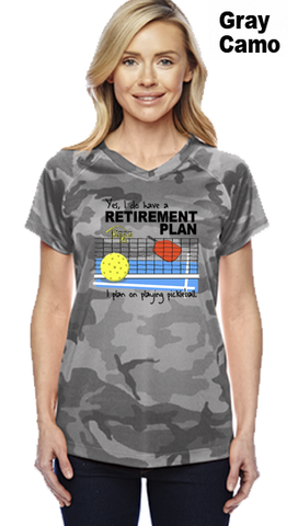 I Have A Retirement Plan Ladies Champion Camo Colors Athletic Workout Tee
