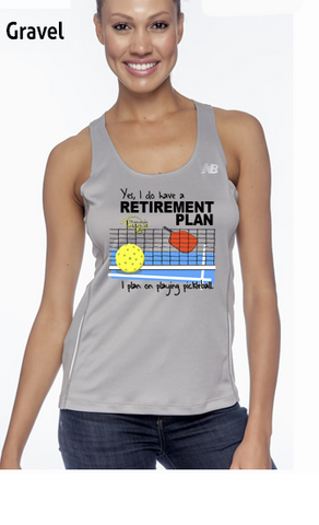 I Have A Retirement Plan Ladies' New Balance Performance Quick Dry Singlet Tank