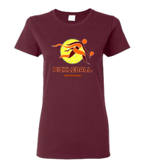 COLLEGE BURGUNDY & ORANGE PICKLEBALL WOMEN'S TEE