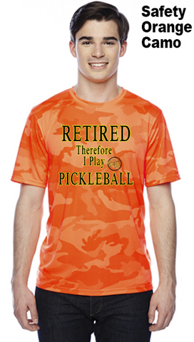 Retired Therefore I Play Pickleball Unisex Champion Camo Colors Athletic Workout Tee