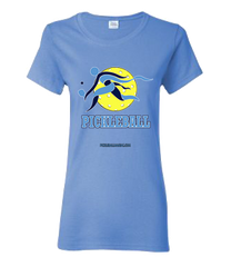 COLLEGE LIGHT BLUE & BLUE PICKLEBALL WOMEN'S TEE